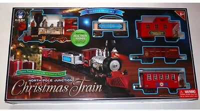 New Blue Hat North Pole Junction Christmas Train Set