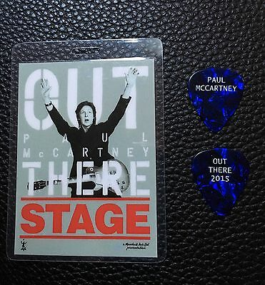 PAUL McCARTNEY  - 2015 OUT THERE TOUR GUITAR PICK & BACKSTAGE PASS - RARE!
