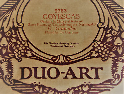 AEOLIAN DUO-ART REPRODUCING PIANOLA ROLL - Granados (see description)