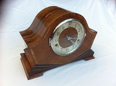 Stunning Pure Art Deco Antique Clock Walnut,Sun Burst Shell Inlay,Fully Restored