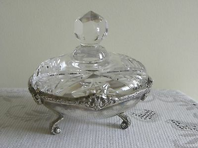 Silver And Glass Powder Pot