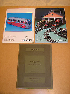 Auction catalogues x 3 Transport, motorcycles and trains themes