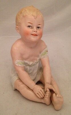 Antique Beautiful German HEUBACH PIANO BABY Bisque Figurine Germany Marked