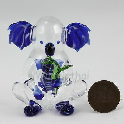 DARK BLUE KOALA w BABY in tummy Hand Blown COLOR Glass Miniature Figurine