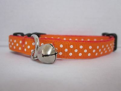 CAT COLLAR ORANGE SPOT Soft Webbing curved safety 3 sizes Bell