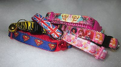 "Kitten Cat collar Disney Princesses Sperman Peppa Pig 6"" to 8"" Pink Red Blue"