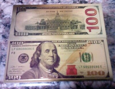 $100 dollar bill PURE 24kt GOLD flake colorized BANKNOTE collector HOT gift !!