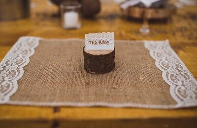 40 Rustic Hessian Lace Table Placemats Wedding