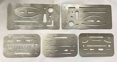 5 Stainless Steel Erasing Shields Vintage Architect Engineer Tools Alvin