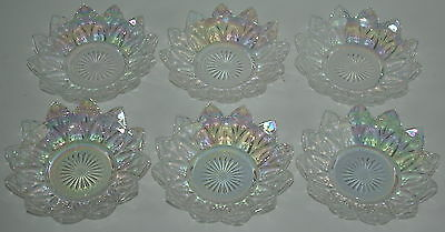 Vintage Carnival Glass Starburst Federal Iridescent Small Bowls  Lot of 6 Pieces