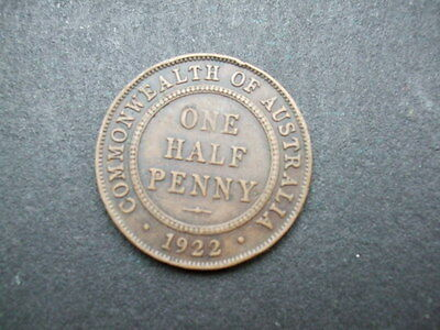 Old Coin Australia Half Penny George V From 1922
