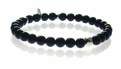 Men's Black Onyx & Rhodium/ 925 Sterling Silver 6mm Bead Stretch Bracelet