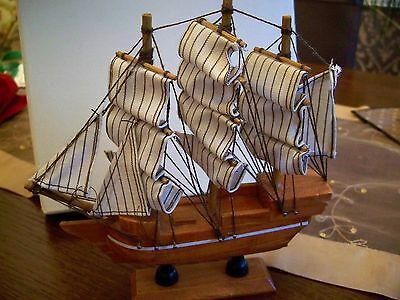 Wooden Sailing Ship with  Sails Ornament.