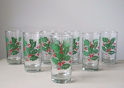 Indiana Glass Holly 8 oz. Flat Tumblers, Set of (8), Holiday Christmas Glasses