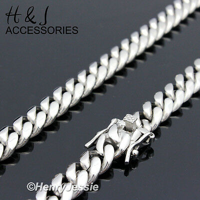 "18-40""MEN 316 L Stainless Steel 10mm Silver Miami Cuban Curb Chain Necklace*N154"