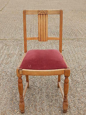 Antique light oak dining chair with padded sprung seat, hall study bedroom etc