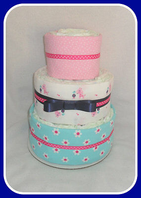 SALE-Baby Girl Diaper Cake- Pink and Navy Blue- Fun Baby Shower Centerpiece