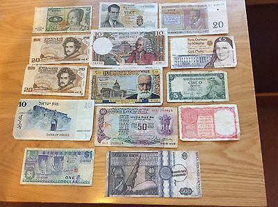 Old Foreign Banknotes 14 genuine old notes