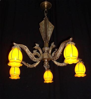 Antique large French Art Deco ostrich figures bronze chandelier with shades