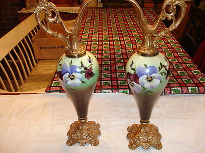 Victorian Set Of Urns Hand Painted Panseys
