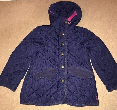 Joules Girls Marcotte Quilted Padded Jacket Coat Hood Age 4 Navy W Pink Lining