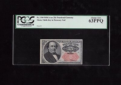 Fifth Issue 25 Cents Fractional Currency, Short Thick Key, Fr#1309, Pcgs 63 Ppq