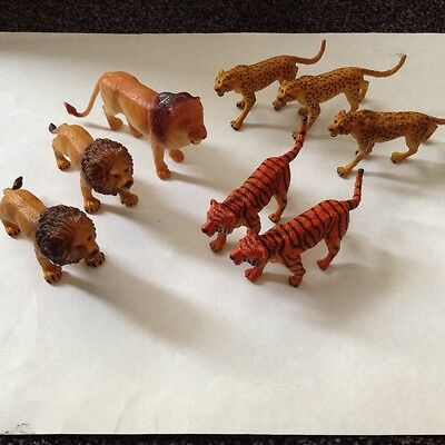 Collection of ZOO ANIMALS Lions Tigers Cheetahs realistic solid plastic
