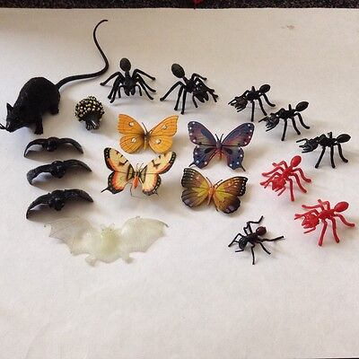 Collection of ZOO ANIMALS INSECTS Butterflies Ants Bats Rat
