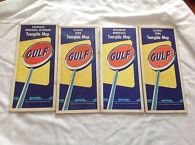 Four 1950's Gulf Oil Maps In Good Condition