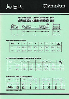 LEYLAND OLYMPIAN DOUBLE DECKER CHASSIS SALES SPEC SHEET 1990's