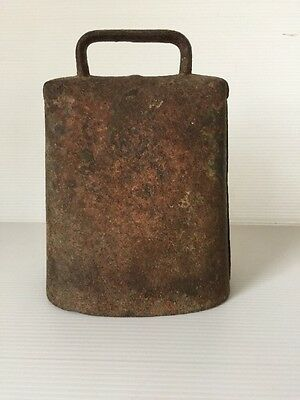 """Hand Forged Primitive Antique Cow Bell with Original Claper 6.5"""" Tall 5"""" Wide"""
