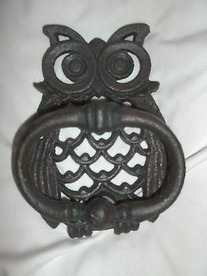 Wise Old Owl Cast Iron Door Knocker Rustic Finish Old Country French Decor