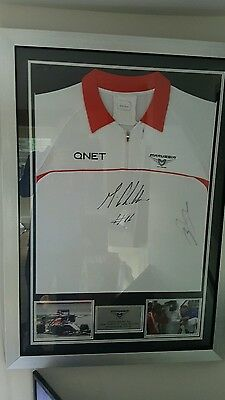 F1 hand signed jules bianchi and max chiltern team issue shirt