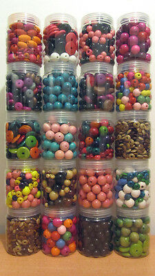 JOB LOT SALE 20 Large Clear Plastic Jars of Mixed Shape/Size/Colour Wood Beads