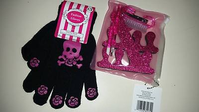 Back to School LOT NEW Pink Skull Gloves & NEW Pink Glitter Pedicure Set