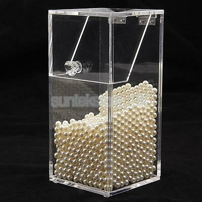 Clear Acrylic Makeup Brush Holder Cosmetic Organizer Storage Box with Pearl