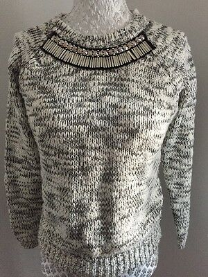 Girls Grey & White Knitted Jumper Age 10-11