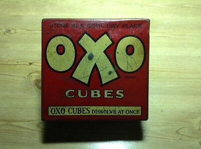 Vintage Oxo Tin- 50 Cube Size -With A Hinged Lid