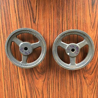 """Two Cast Iron Pulleys 5-3/4"""" x 1/2"""" arbor electric motor 1 groove"""