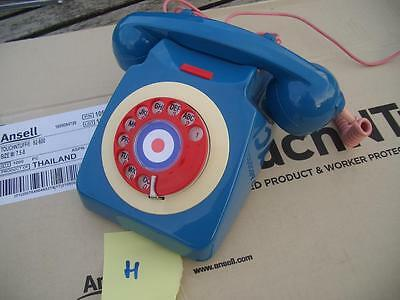 Vintage blue red white mod target GPO 746 dial telephone, retro