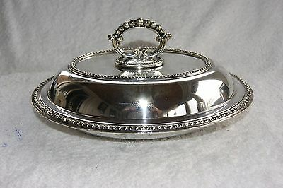 Large Vintage Silver Plated E P N S Serving Tureen Dish & Cover Removable Handle