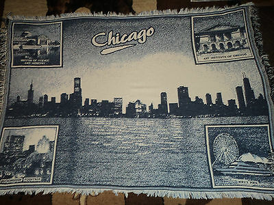 Chicago,illinois.weaved Afghan/throw.lake.museum Of Science/industry.navy Pier.