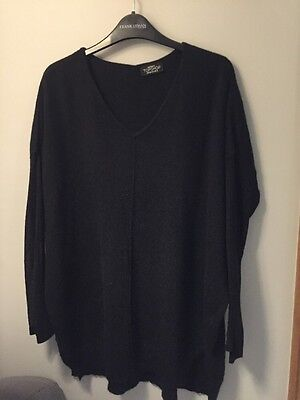 Topshop Maternity Size 10 Black Fine Knit Jumper In Vgc