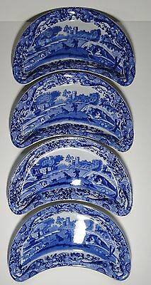 Copeland Spode 4 x Blue Italian Crescent / Half Moon Side Plates / Dishes Blue