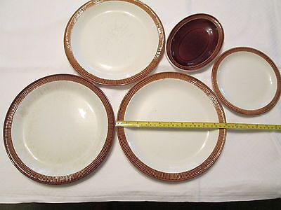 Poole Pottery brown & white gravy boat saucer, dinner plates & side plate