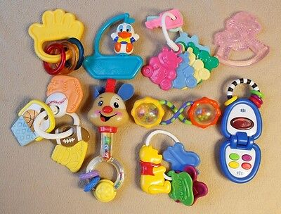 Lot of Baby Toys, Rattles, Keys, Etc., Donald Duck, Winnie the Pooh, Football