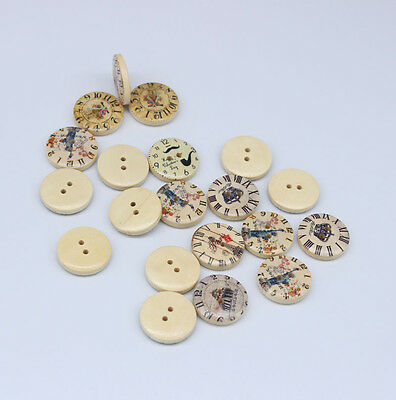 25PSC  Mixed Style Clock Wood Round Buttons 2 Holes Fit Sewing Scrapbook 20x20mm
