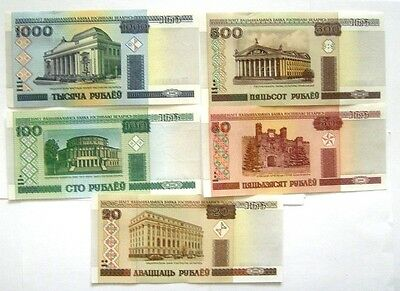 5 BANKNOTES BELARUS  20 to 1000 RUBLEI 2000//2011 ISSUE UNC COND.