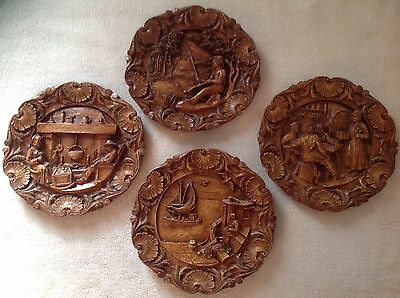 Vintage German Carved Wooden Style Resin Plates / Wall Plaques - Set of 4. Rare