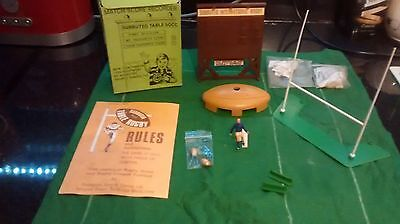 Subbuteo rugby scoreboard and box of accessories